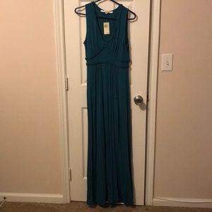 Teal V-Neck Maxi Dress